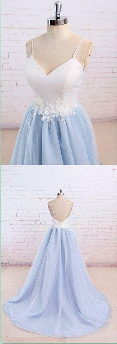 Blue Spaghetti Straps Sweet 16 Party Prom Dress,Long Prom Dresses,Prom Dresses,Evening Dress, Prom Gowns, Formal Women Dress,MB 71