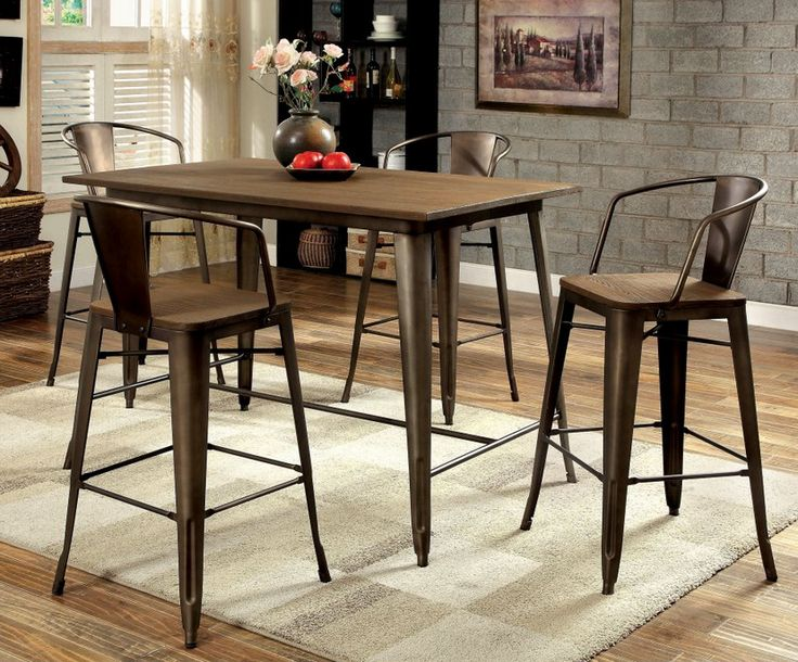 Pub style dining table set that screams industrial rustic! Wood and metal counter height dining set will instantly transform your dining and living space.