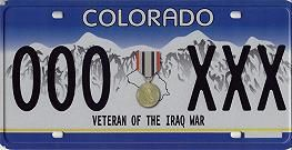 Operation Iraqi Freedom Veteran License Plate from CO