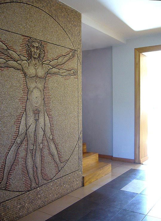 The Vitruvian Man, mosaic of marble