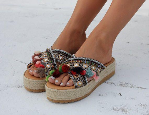 "Handmade leather sandals, Artisanal sandals, Greek leather sandals, Flatforms, ""Sophia"""