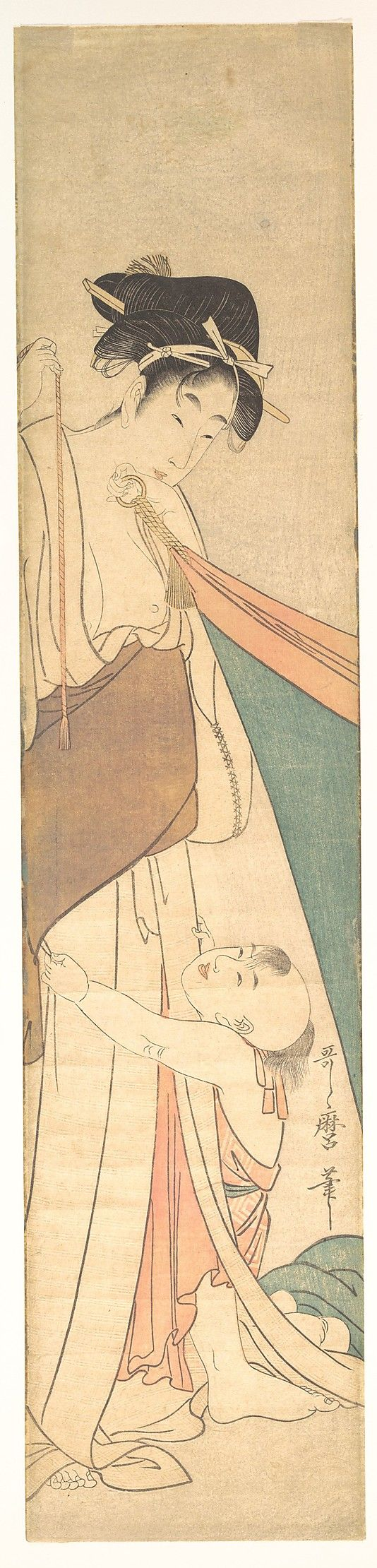 Woman and Child  Kitagawa Utamaro  (Japanese, 1753–1806)  Period: Edo period (1615–1868) Date: ca. 1795 Culture: Japan Medium: Polychrome woodblock print; ink and color on paper
