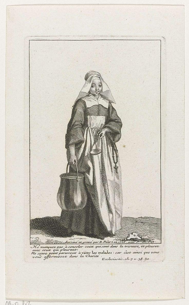 Bernard Picart | Non met ketel en lepel in de handen, Bernard Picart, 1706 | Non in eigentijds kostuum, langs haar zij hangt een rozenkrans. In de marge een vierregelig Bijbelcitaat in het Frans.