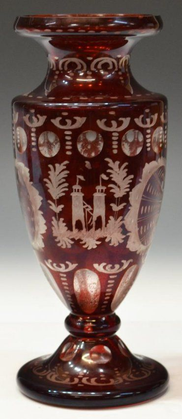 Bohemian Ruby Glass Vase Having Flared Neck, Body Cut To Clear With Stag, Towers And Foliates Throughout