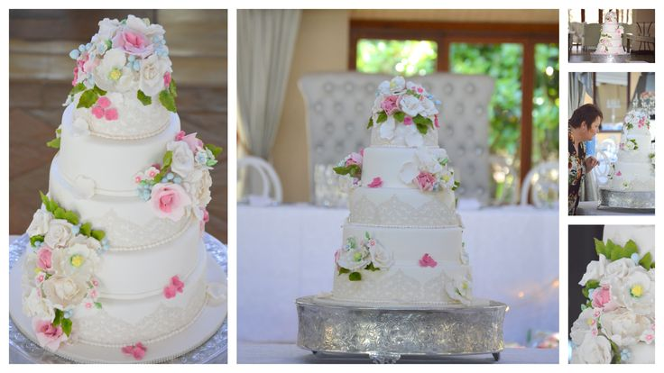 wedding cake with pink and lace
