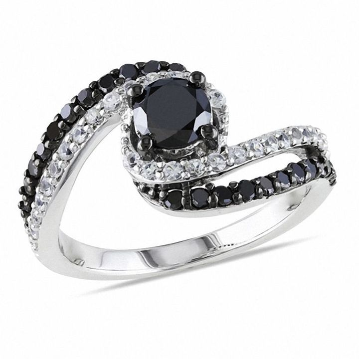 Zales 1/10 CT. T.w. Enhanced Black and White Diamond Crossover Stackable Three Ring Set in Sterling Silver DPZbqcyV