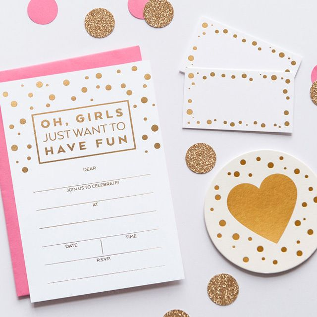 'OH, GIRLS' Fill-in GOLD Invitations | 2 Love Birds #stationery #gold #invitation #goldfoil #party
