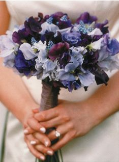 "Blue bouquet:  ""Hydrangeas, hyacinths, forget-me-nots, cornflowers, iris, delphiniums, lavenders, poppies"""