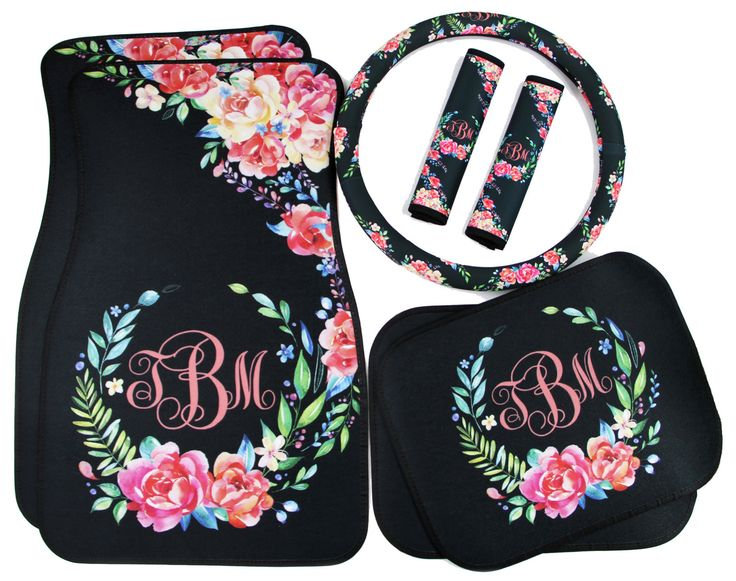 Who WOULDNT love having new car accessories? Even new car owners would love to have a set of personalized items for their car! Monogrammed car accessories make thoughtful and unique Sweet Sixteen, Mothers Day, Christmas, Hanukkah, Valentines Day, Anniversary, Graduation, and birthday gifts. Or treat yourself to a new set for your own car!  For coordinating car accessories, click here: https://www.etsy.com/shop/ChicMonogram?search_query=classy+black+floral…