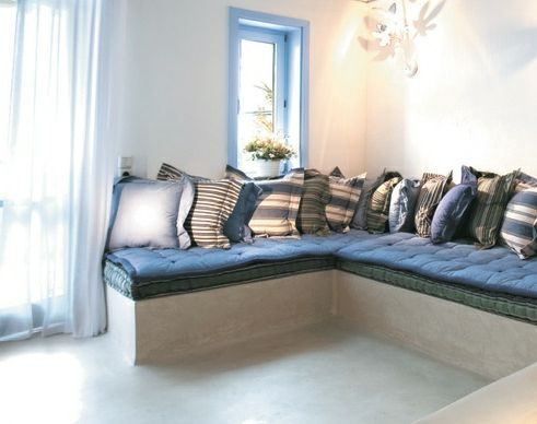 Greek Decor Style In White And Blue At Mykonos Resort