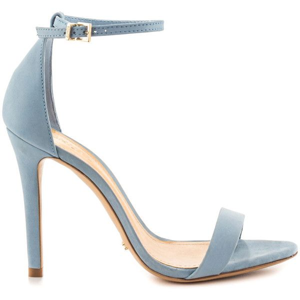Schutz Women's Cadey Lee - Jeans ($170) ❤ liked on Polyvore featuring shoes, sandals, blue, leather sandals, high heel shoes, blue shoes, stiletto sandals and strap sandals