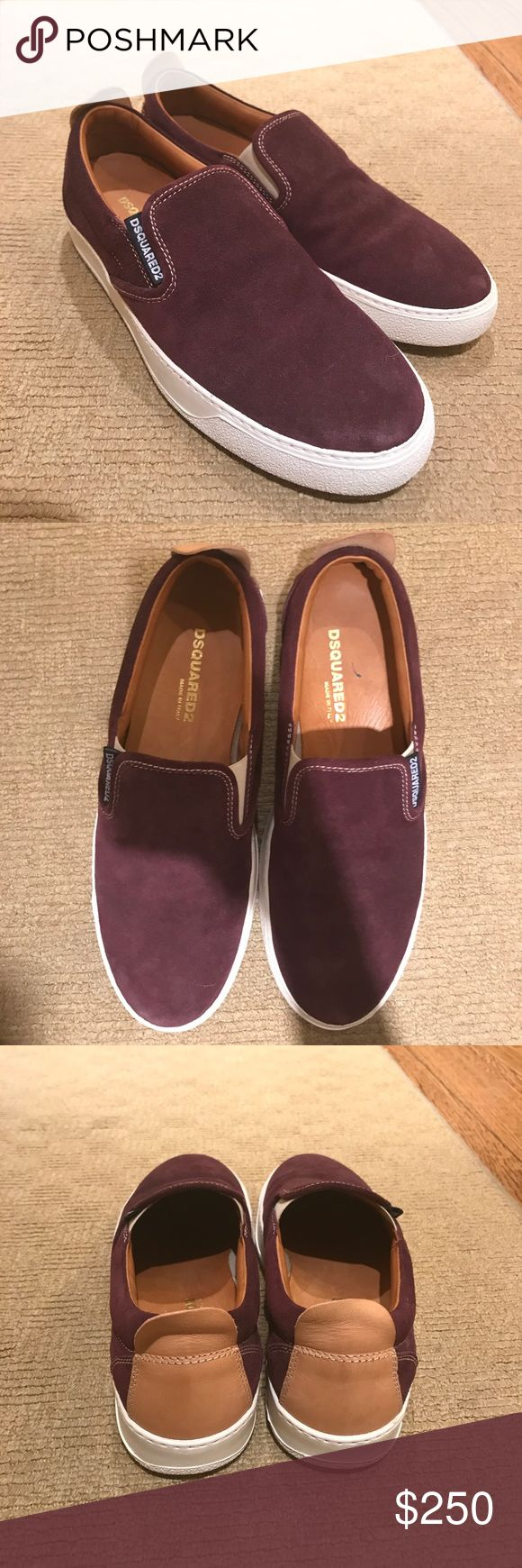 Dsquared NEVER BEFORE WORN slip ons a suede never before worn Dsquared slipons in suede maroon. Very versatile and goes well with everything. Size is 43 DSQUARED Shoes Loafers & Slip-Ons