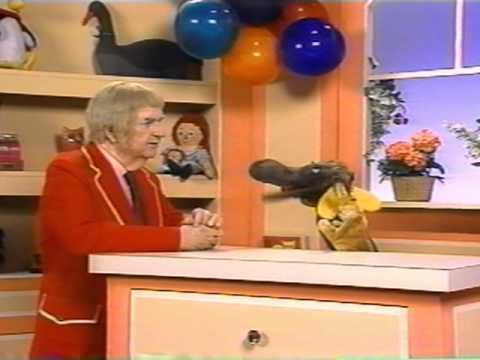 Captain Kangaroo, Mr. Moose, and Bunny Rabbit with ping pong balls, of course!