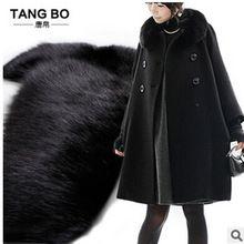 5XL женщины зимняя куртка с длинным утолщение кашемир шерсть куртки реального фокс меховой воротник большой размер женщин пальто зимой шерстяные пальто(China (Mainland))