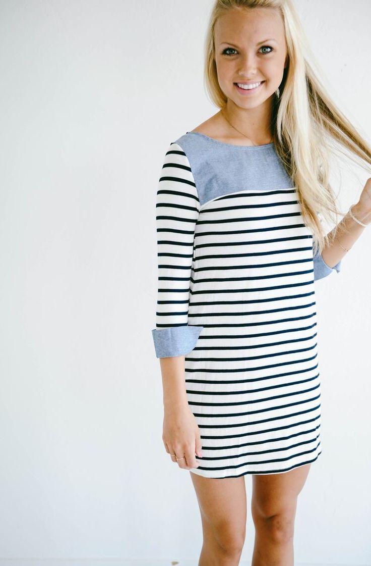 Jean and stripe dress. Love the mix! Spring summer stitch fix 2016.