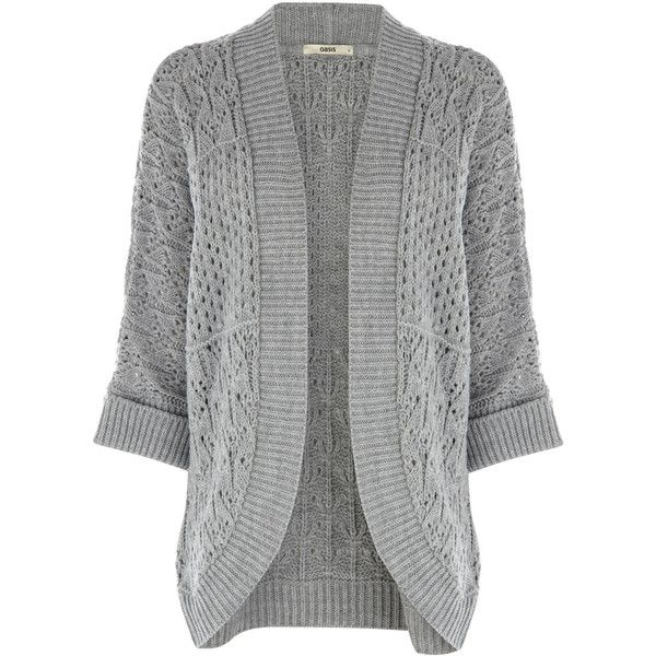 Stitch fix please! This open front cardigan features a perforated effect across the fabric. The piece features 3/4 sleeve styling and a ribbed effect on the sleeves and lapel.