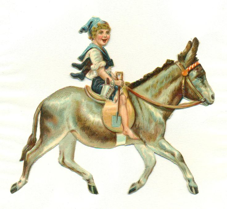 large victorian  scrap boy riding donkey  uk.picclick.com