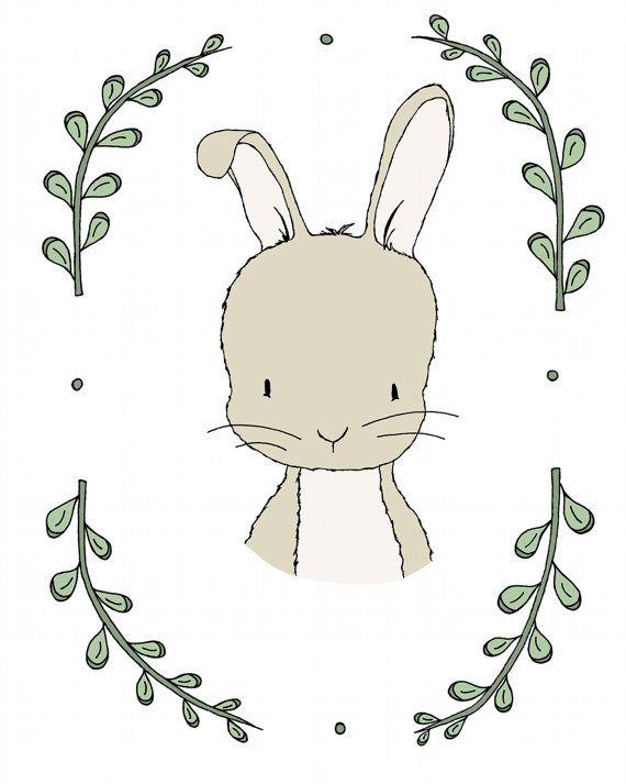 Woodland Art -- Woodland Nursery Art -- Portrait Of A Rabbit -- Bunny Art -- Woodland Animal Art, Children Art, Kids Wall Art, Bunny Picture