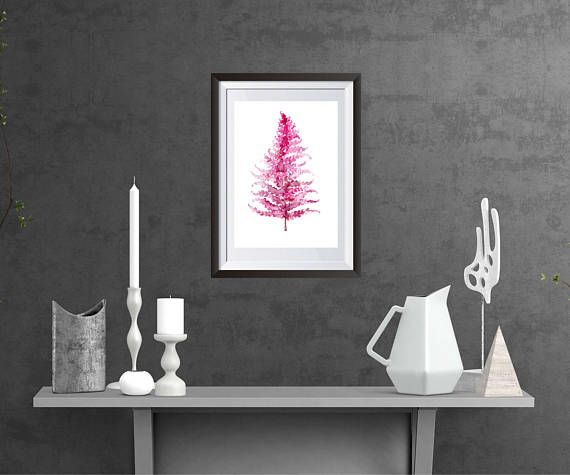 Pink Fern Leaf Printable Fern Botanical Watercolour Fern