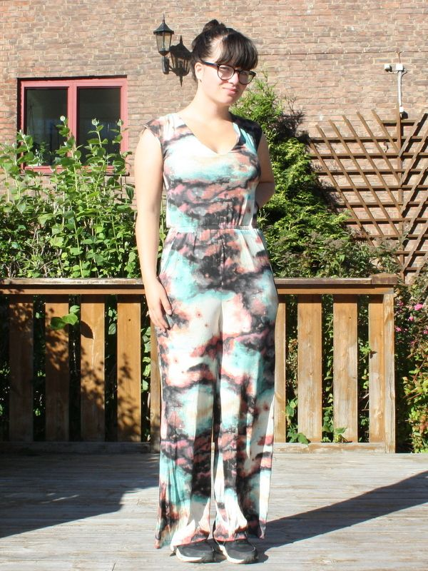 Sallie jumpsuit from closet case files. Galaxy fabric.