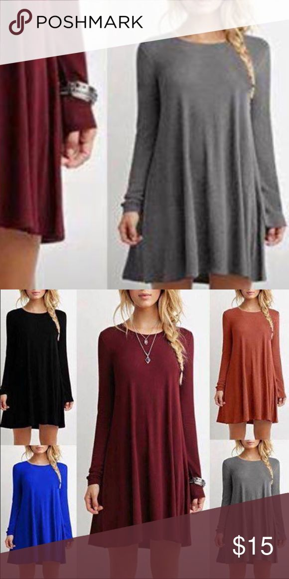 Grey long sleeve dress New without tags...ordered online so comes with packaged plastic bag! Comfortable and flowy# Dresses Long Sleeve