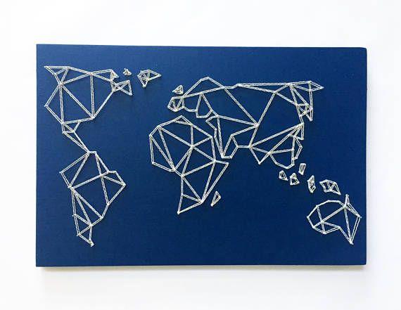 Geometrische kaart String kunst  kunst aan de muur kaart