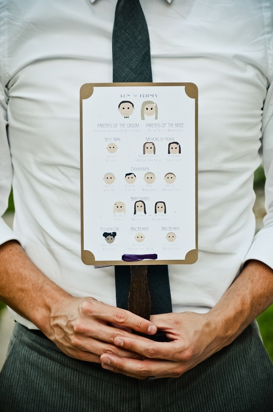 I made these wedding program fans by making faces with shapes on Word, then used a colored cardstock sheet between the printed sheets (the reverse side was the program itself), and we bought craft sticks and stained them a dark brown color, and put it all together with spray adhesive topped off with a ribbon
