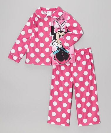 Take a look at this Pink Polka Dot Minnie Button-Up Pajama Set - Toddler by Minnie's Bow-Tique on #zulily today!