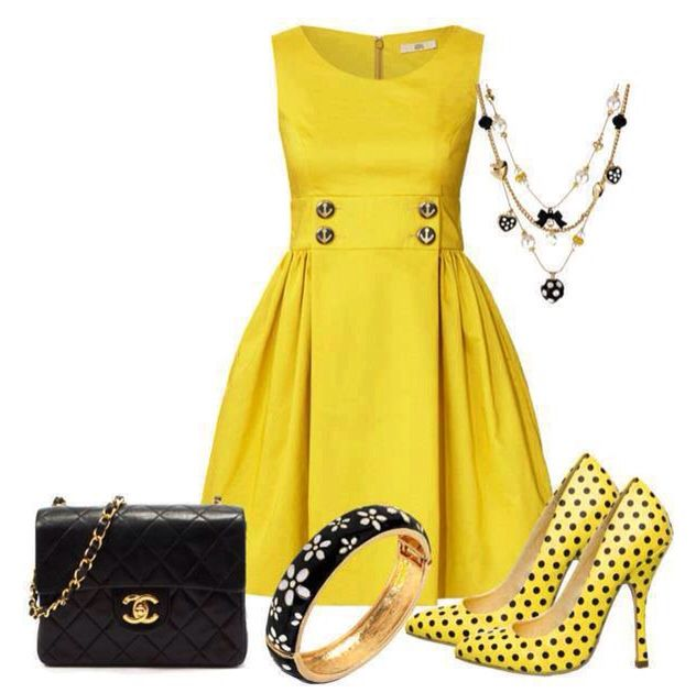 Yellow Dress Womens Outfit Idea