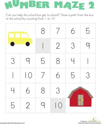 Worksheets: Number Maze: School Bus