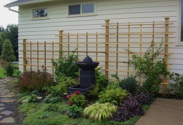 1000 images about landscaping blank wall on pinterest for Window trellis design
