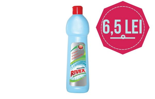 Poti avea o curatare delicata si fara zgarieturi a suprafetelor din baie si bucatarie? Acum da, cu Crema Abraziva Rivex, la doar 6,50 lei, cu o reducere de 35%!