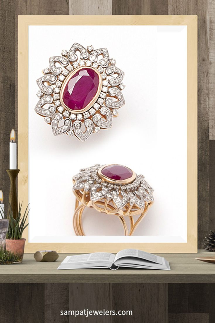 Ruby diamond ring, Cocktail Ring, Designer ring, Ruby ring, Indian Diamond Jewelry, South asian Jewelry