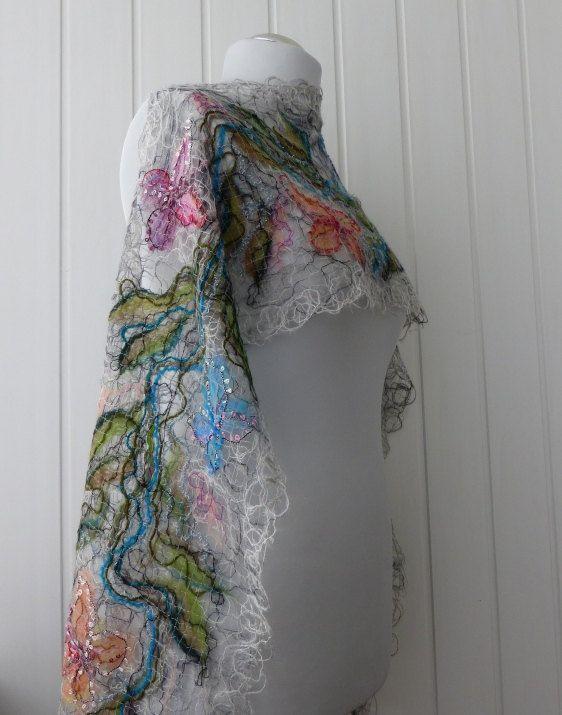 Gray Handmade shawl crazy wool technique for women by crazywoolLT, $47.00
