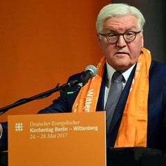 Frank-Walter Steinmeier speaks at the 36th German Protestant Church Congress in Berlin