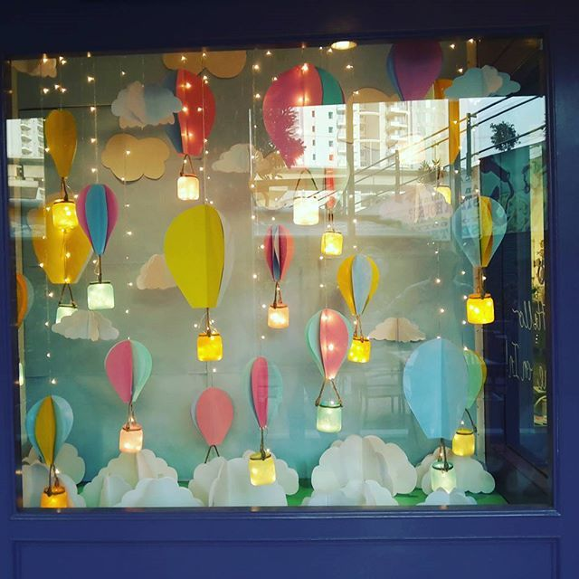 TWC Gurgaon March  Window !! ! #summertime #hotairballoons #windowdisplay #handmade #delhidiaries #workdiaries