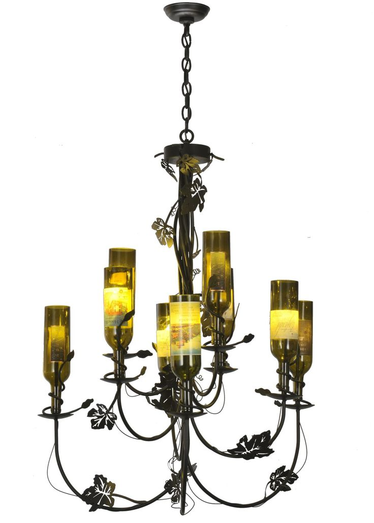 """34 Inch W Tuscan Vineyard 9 Arm Wine Bottle Chandelier. 34 Inch W Tuscan Vineyard 9 Arm Wine Bottle Chandelier Theme:  RUSTIC LODGE CONTEMPORARY Product Family:  Tuscan Vineyard Product Type:  CEILING FIXTURE Product Application:  CHANDELIER Color:  BLACK Bulb Type: HALOGEN Bulb Quantity:  9 Bulb Wattage:  20 Product Dimensions:  45""""-75""""H x 34WPackage Dimensions:  NABoxed Weight:  19 lbsDim Weight:  NAOversized Shipping Reference:  TRUCKIMPORTANT NOTE:  Every Meyda Tiffany item is a…"""