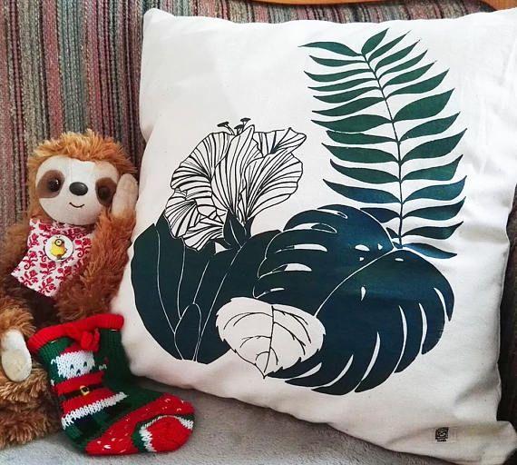 Dschungel Kissen grün Jungle Pillow green Baumwolle
