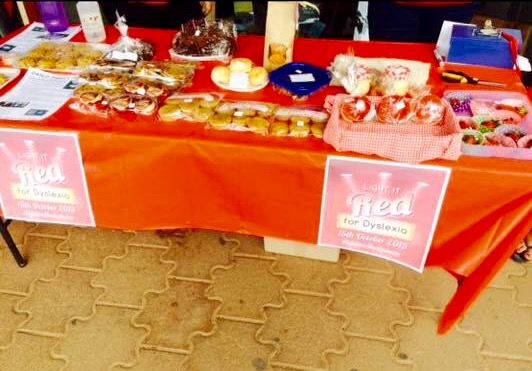 "Bake sale at Eudunda for ""Light it Red for Dyslexia"" 2015."