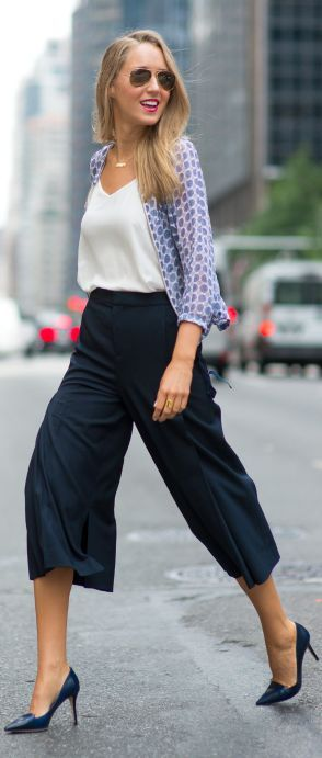 LOVE THE PANTS Club Monaco Navy Loose Split Bottom Culottes by The Classy Cubicle Not everything I pin here is just a dream. I would totally wear this. Minus heels.