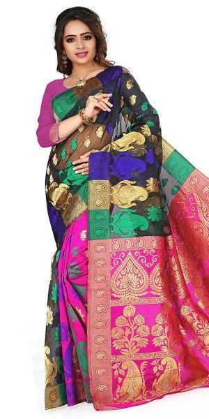 Pleasing Black And Multi-Color Silk Saree With Blouse.