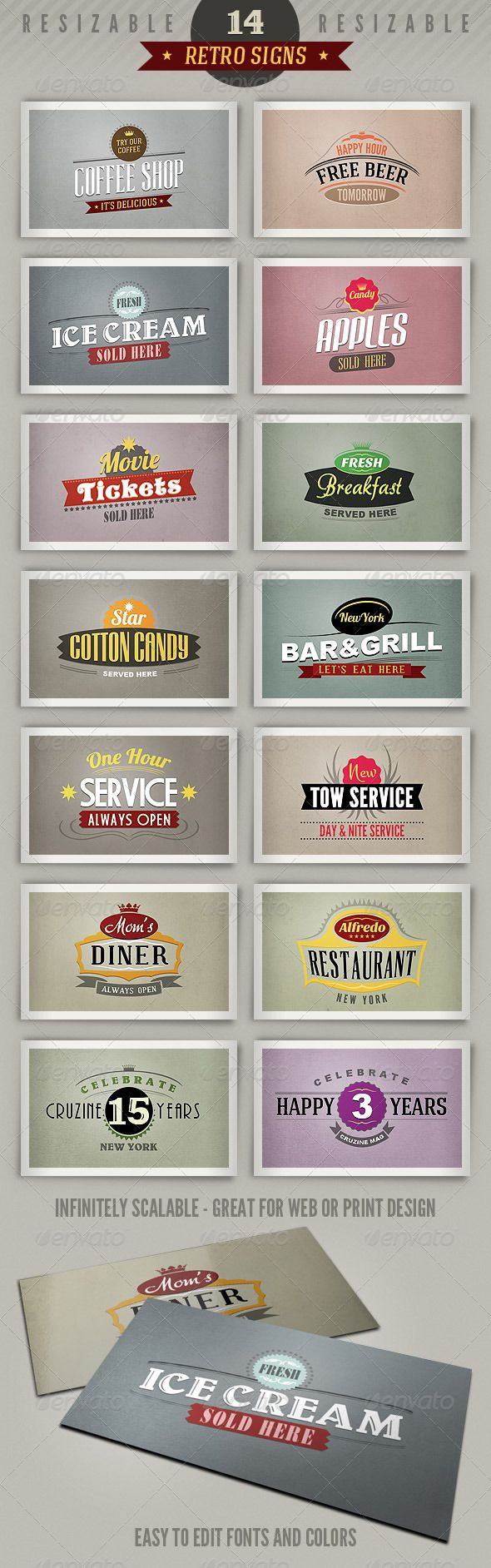 14 retro style signs or banners perfect to use as logos, buttons or as promotion graphics for websites or print designs. A tiny $4 - lush!