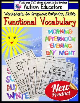 This Calendar Vocabulary functional worksheet set is part of our Following Visual Directions series and allows students to work independently practicing frequently used words associated with the calendar skills. Students will write, trace, color in the lines, bubble in, and circle the answer.