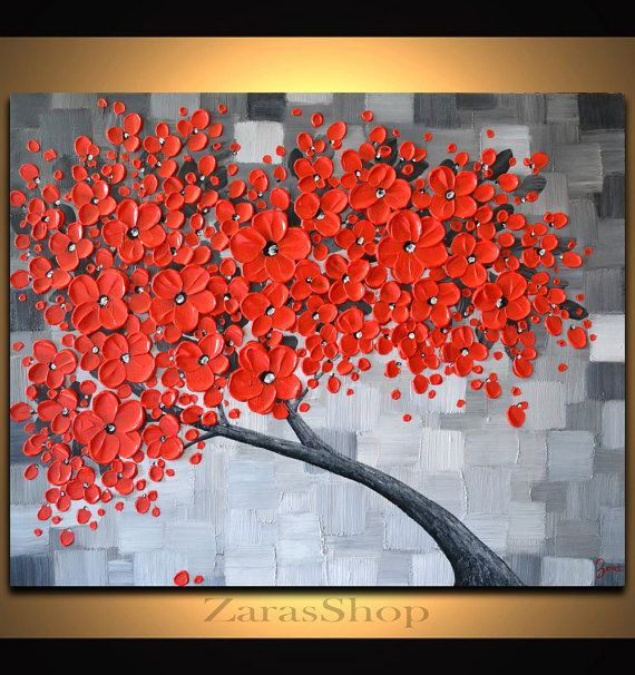 Large abstract art, Red cherry blossom tree painting, Original Painting,  black white red wall art decor