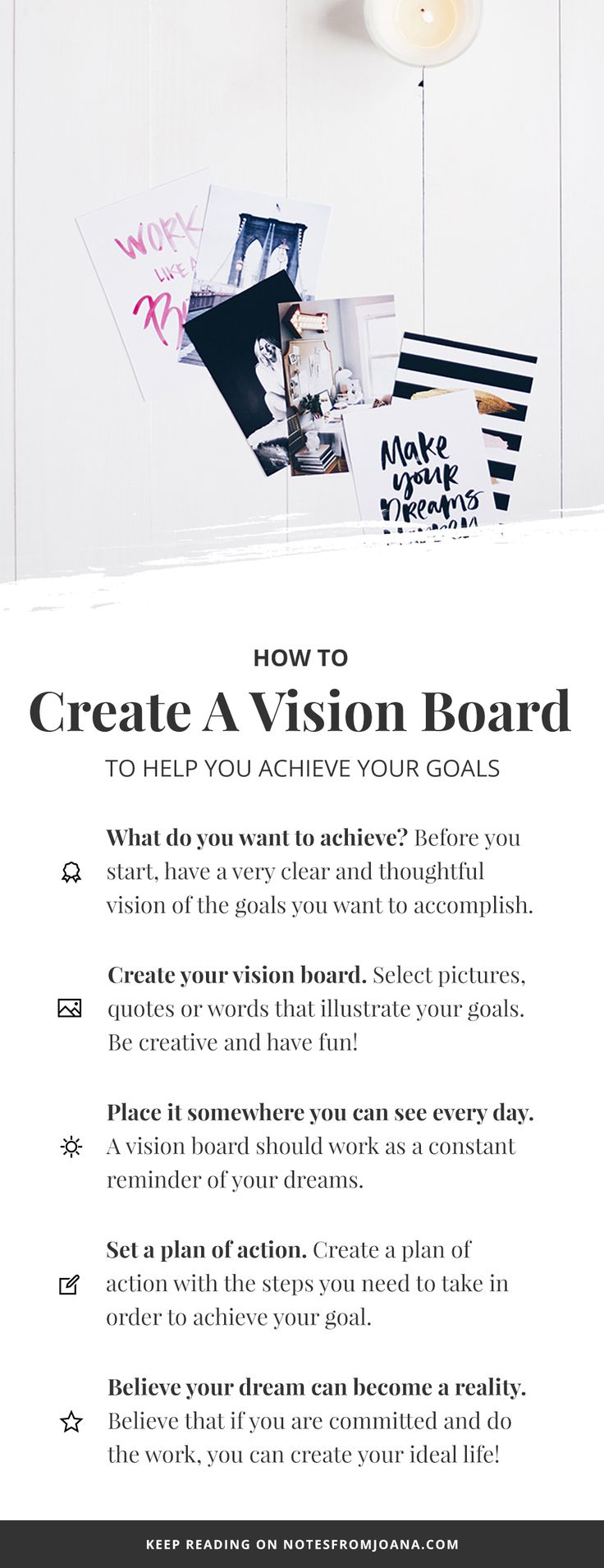 How To Create A Vision Board To Help You Achieve Your Goals. Goal Setting. // Notes from Joana