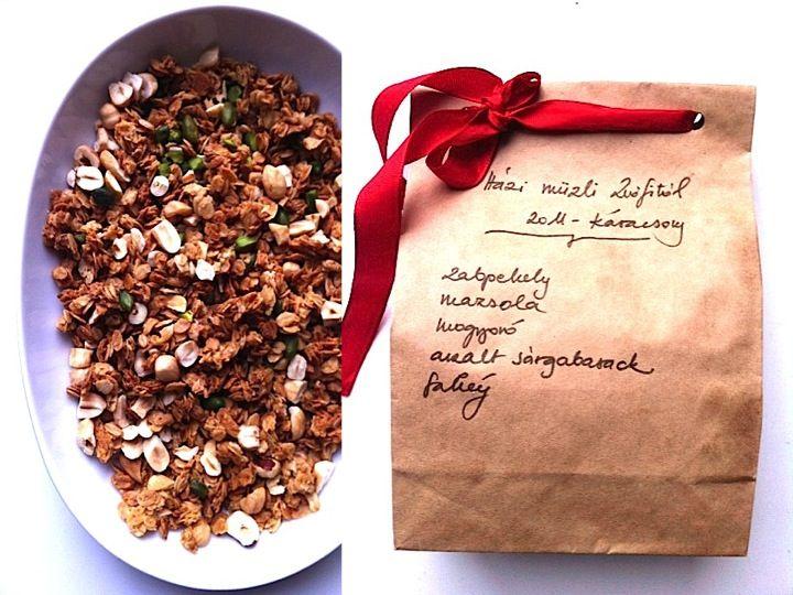 Ehető ajándék (sk. műzli) és csomagolása