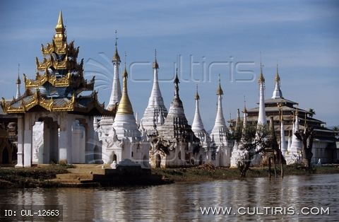 Ázsia, Burma, Myanmar, Mianmar, Inle-tó, pagodák