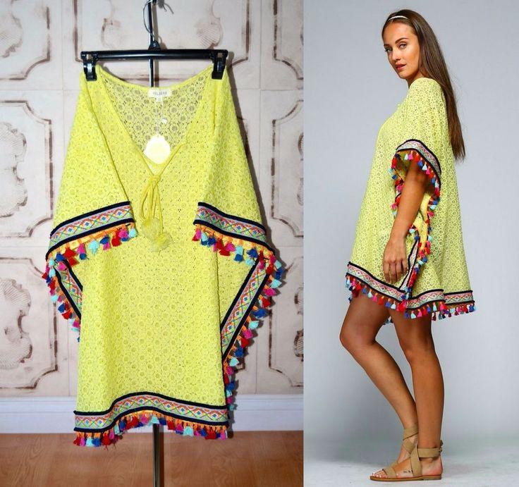 IBIZA Boho Tassel Trim Lemon Lime Pom Pom Kaftan Tunic Lace Knit - Cover Up S-2X #Velzara #KaftanCaftanTunicPoncho #SummerBeach