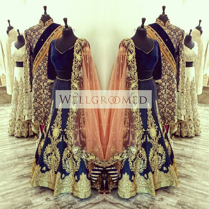 Known for their immaculate designs @wellgroomedinc is a leading #indianfashion brand in US & Canada. Just look at this stunning #lehenga and #sherwani combination.