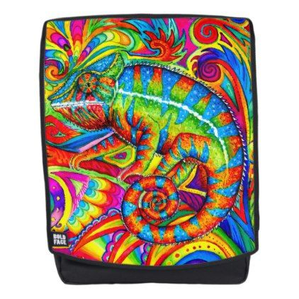 #Psychedelic Rainbow Chameleon Lizard backpack - #travel #accessories